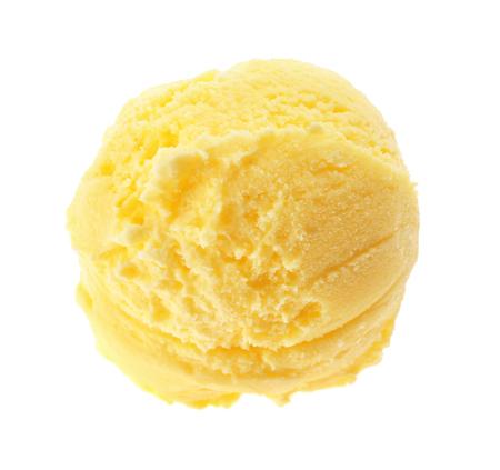 Scoop of lemon ice cream on white background Stockfoto