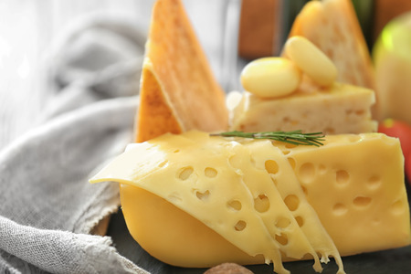 Different types of cheese on table Standard-Bild