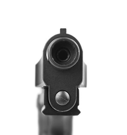 Gun barrel on white background Stock Photo