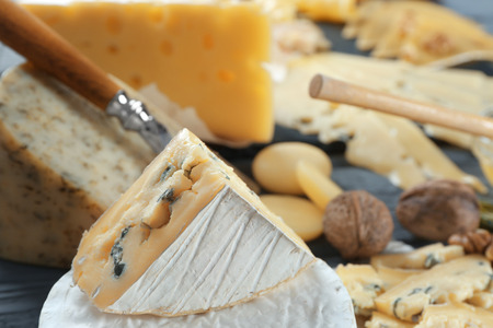 Beautiful composition with variety of cheese on table