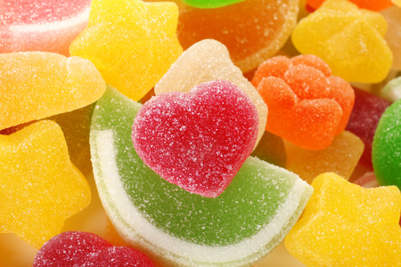 Fruit colorful jelly candies, closeup
