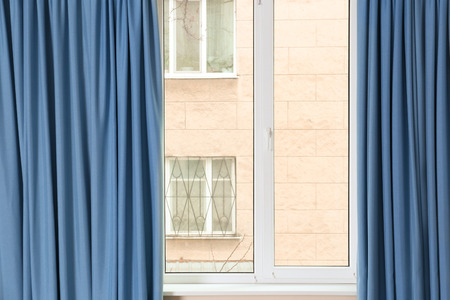 Room window with color curtains