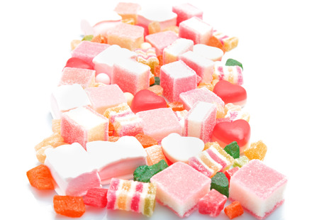 Tasty and colorful jelly candies on white background Stock Photo