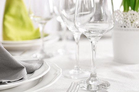 Wineglass on table, closeup