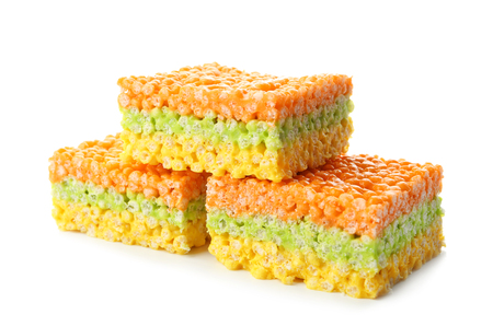 Rice crispy treats on white background Stock Photo