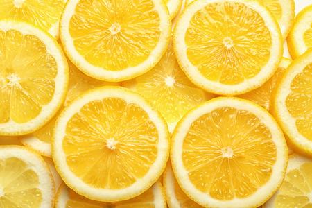 Slices of delicious juicy lemon, closeup Stock Photo