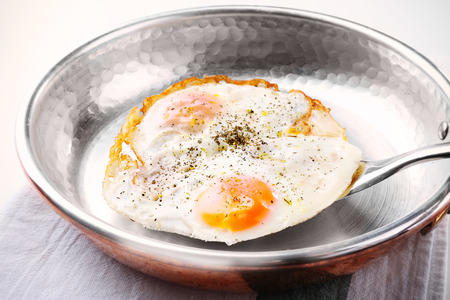 Pan with over hard fried eggs, closeup