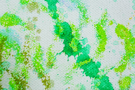Abstract drawing in greens, closeup