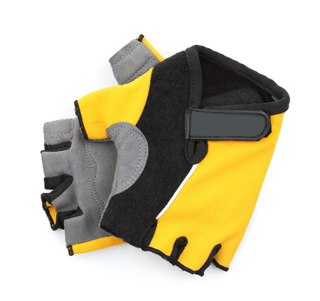 Bicycle gloves on white background