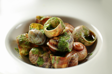 Plate with delicious snails in green sauce, closeup Stockfoto