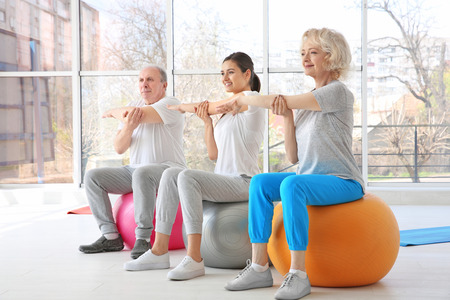 People training in modern clinic. Physiotherapy concept Stock Photo