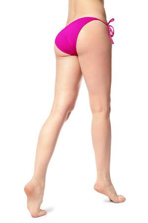 Beautiful young woman in bikini on white background Stock Photo