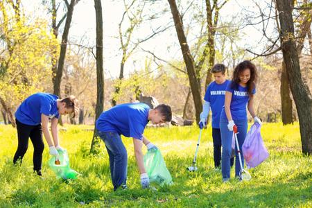 Groep jonge vrijwilligers in park op zonnige dag Stockfoto