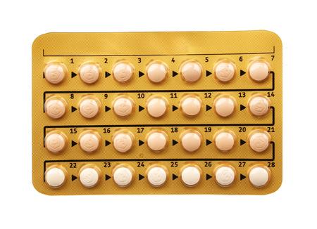 Birth control pills on white background. Oral contraception concept Reklamní fotografie - 109922390