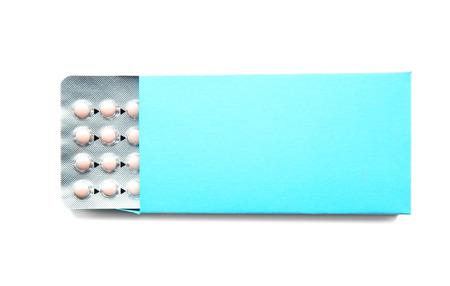 Birth control pills on white background. Oral contraception concept