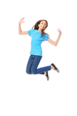 Cute jumping girl on white background Stock Photo