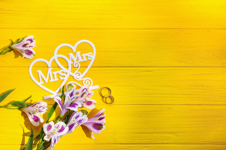 Beautiful composition with rings for lesbian wedding on color wooden background Stock Photo