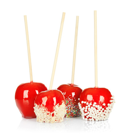 Delicious candy apples on white background Stock Photo