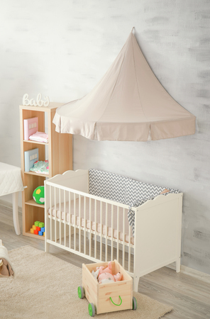 Beautiful interior of modern baby room