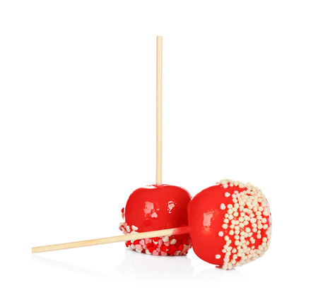 Delicious candy apples on white background Imagens