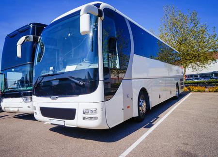Big tourist bus on parking Stock Photo