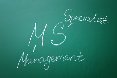 Management abbreviation MS with its full form written on chalk board Banco de Imagens - 110040309
