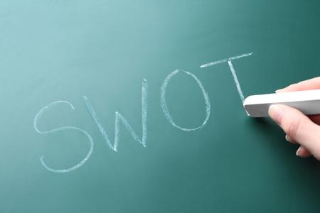 Female hand writing management abbreviation SWOT on chalk board Stock Photo