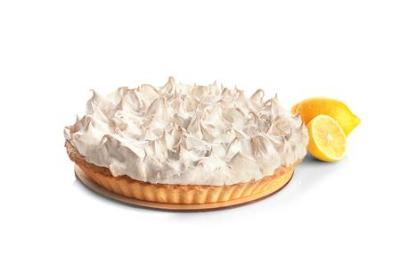 Tasty lemon meringue pie on white background