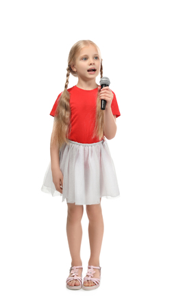 Cute funny girl with microphone on white background Banque d'images
