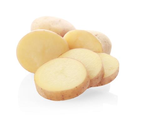 Sliced potato isolated on white
