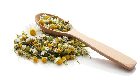 Dried chamomile flowers and wooden spoon on white background Foto de archivo