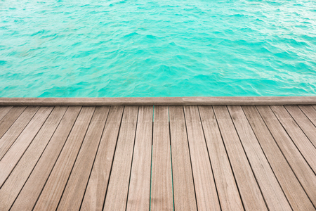 Wooden pontoon at sea resort. Summer vacation concept