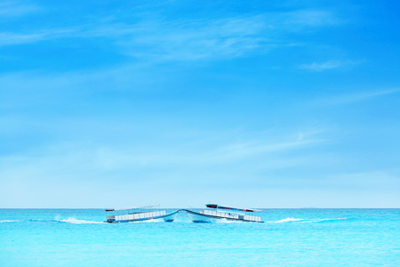 Seascape with modern boats at resort Stock Photo