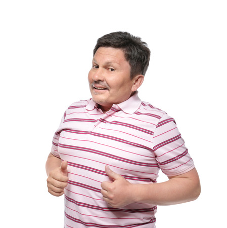 Overweight man on white background. Diet concept