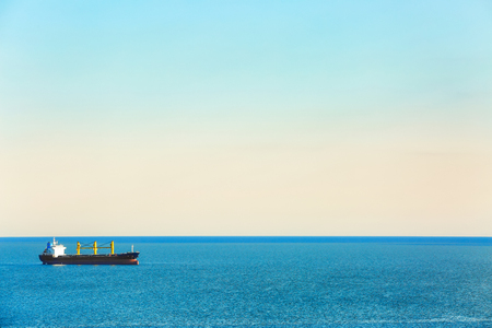 Beautiful seascape with ship on sunny day