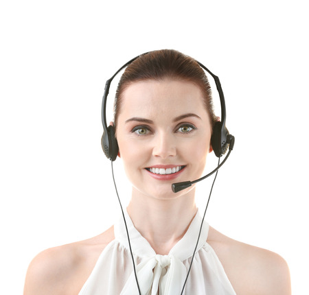 Young woman with headset on white background