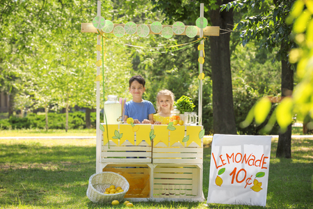 Adorable children selling homemade lemonade at stand in park Banque d'images