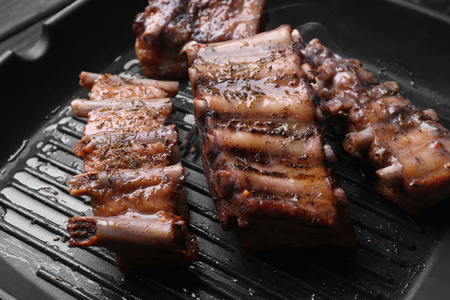 Grill pan with tasty ribs, closeup