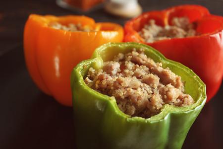 Quinoa stuffed peppers, closeup Imagens
