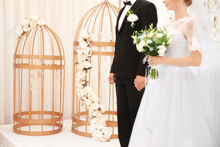 Newlywed couple in wedding hall Banco de Imagens