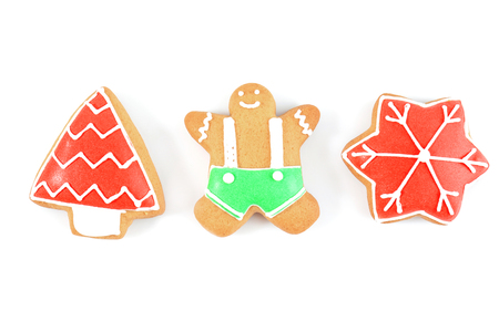 Delicious Christmas cookies on white background Foto de archivo