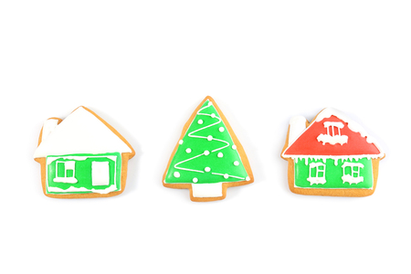 Delicious Christmas cookies on white background Standard-Bild