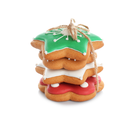 Tasty Christmas cookies on white background 免版税图像