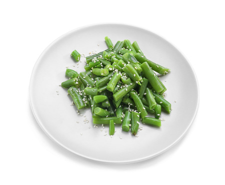 Plate with delicious green beans salad, isolated on white background