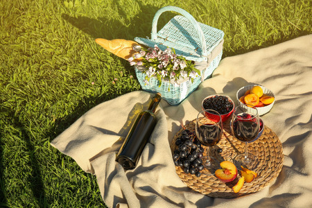 Composition with ripe fruits, wine and picnic basket on blanket outdoors Zdjęcie Seryjne