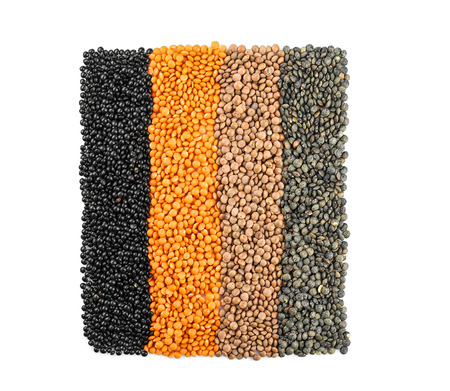 Composition with different lentils, isolated on white background