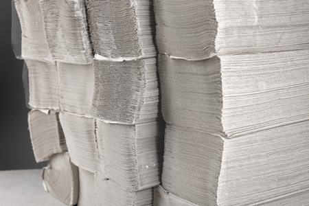 Many stacks of paper napkins