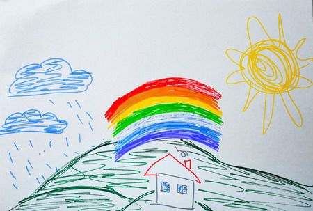 Childs drawing of house and rainbow