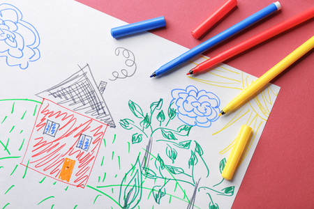 Childs drawing of house and trees on color background, closeup Stock fotó