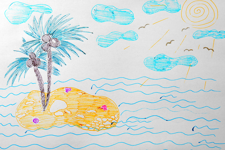 Childs drawing of island with palm trees Stock Photo